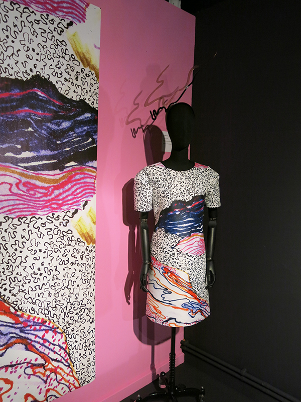 Dress from Zandra Rhodes Sketchbook collection with headwear by Piers Atkinson