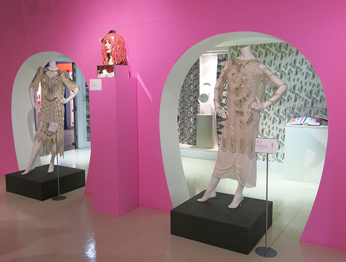 Zandra Rhodes dresses with bust by Andrew Logan
