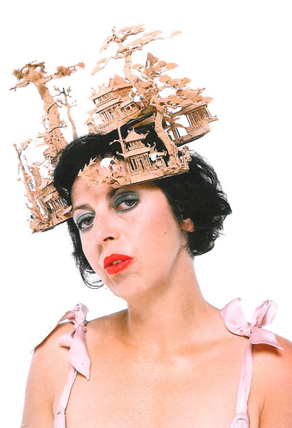 Isabella Blow wears Philip Treacy for Alexander McQueen