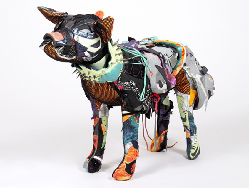 Nike Area 72 pitbull sculpture by Vinti Andrews