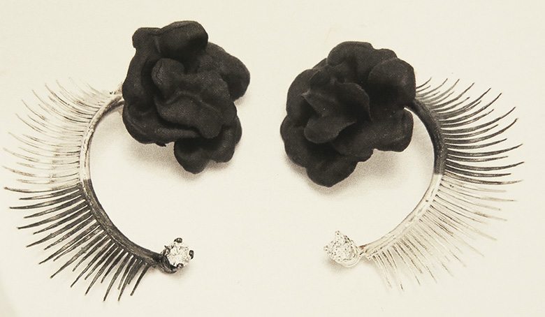Mirit Weinstock eyelash earrings