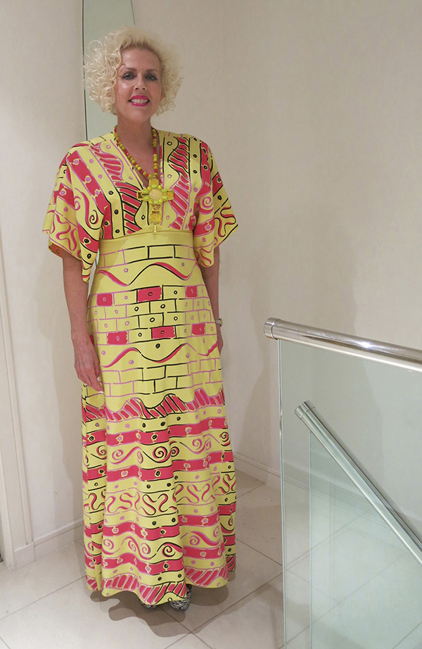 Susan Muncey wearing Zandra Rhodes dress
